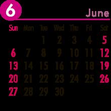 翌月のカレンダー